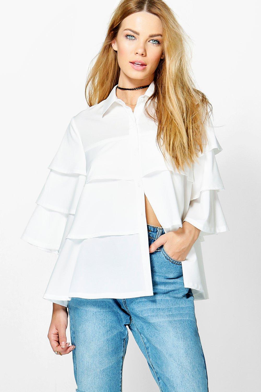 Ruffle Tiered Shirt  white