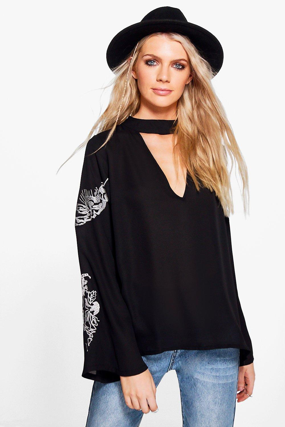 Bronte Embroidered Sleeve Choker Blouse