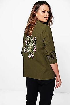 Skye Embroidered Back Utility Shirt