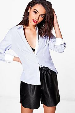 Bethany Contrast Collar Striped Shirt