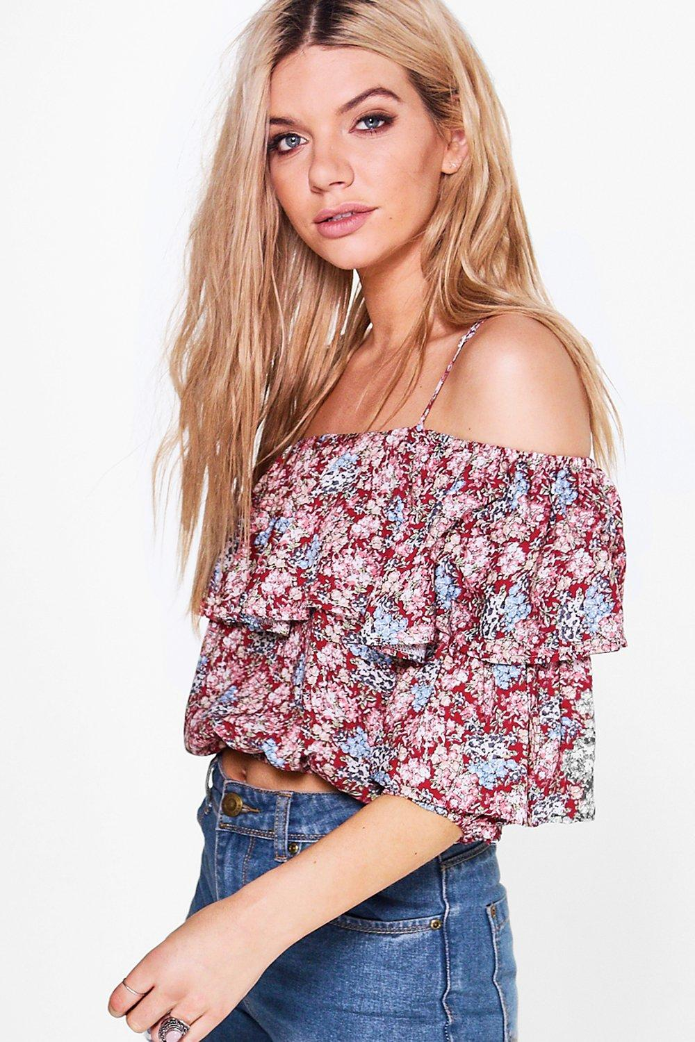 Lorna Printed Tiered Cold Shoulder Top