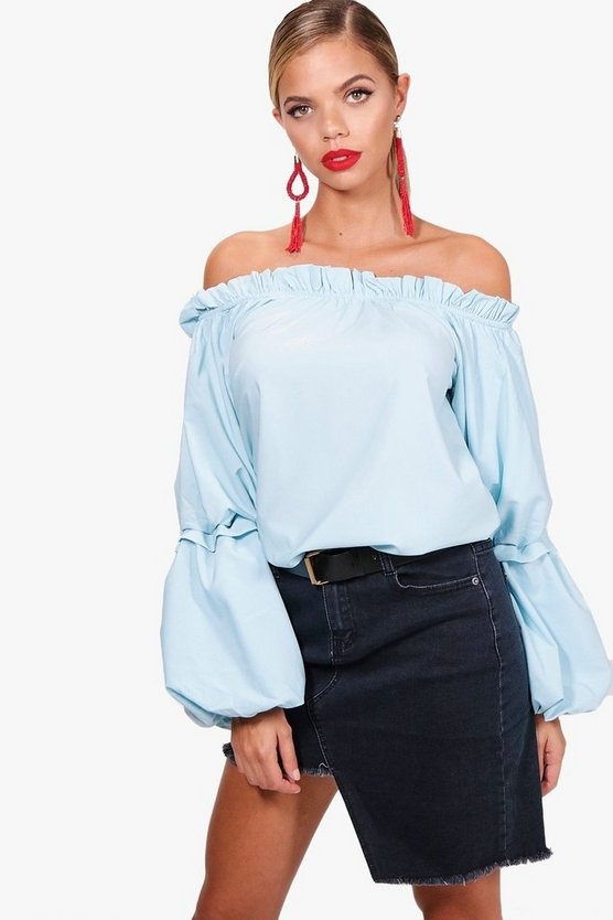 Ruffle Sleeve Bardot Top