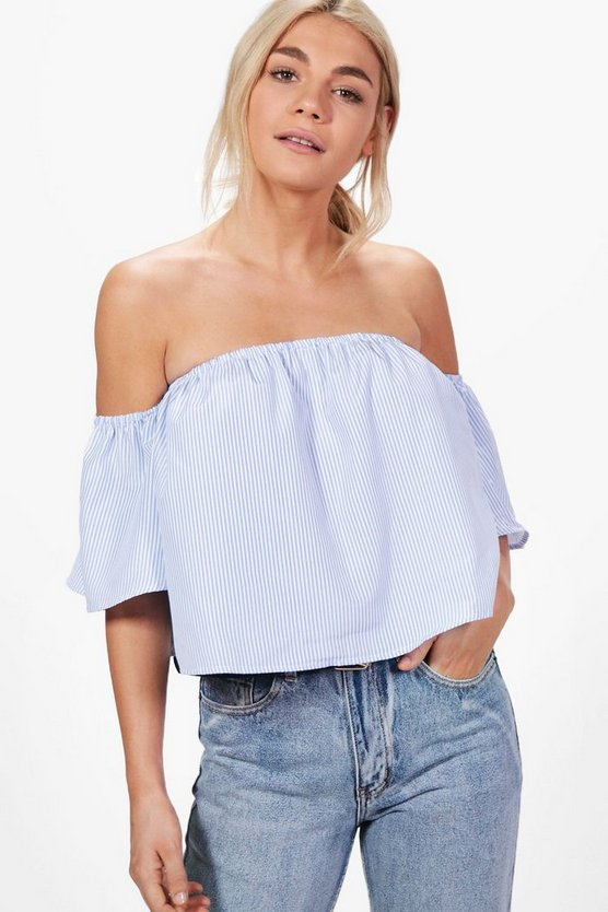Vicky Striped Cropped Bardot Top