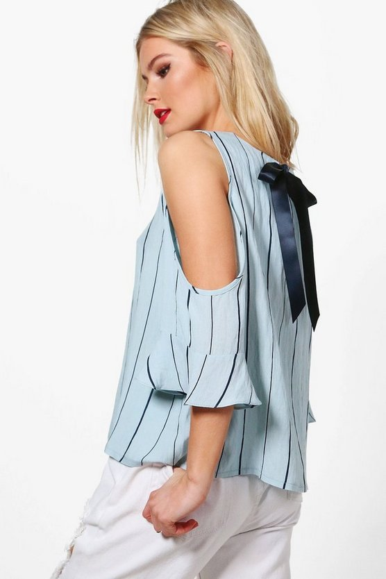 Stephanie Striped Tie Back Cold Shoulder Top