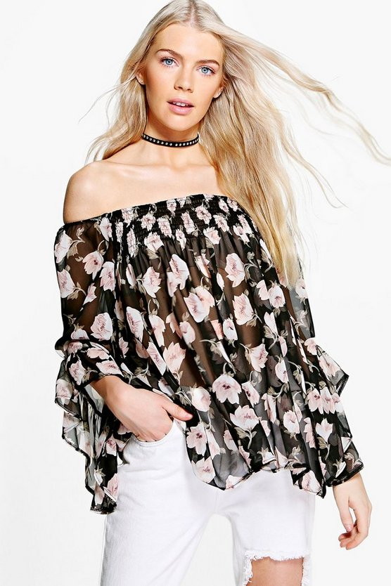 Suzzie Rose Print Frill Sleeve Bardot Top