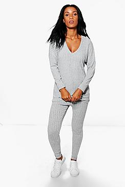 Jessica Rib Knit Jumper & Legging Loungewear Set