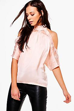 Heidi Lace Insert High Neck Cold Shoulder Blouse