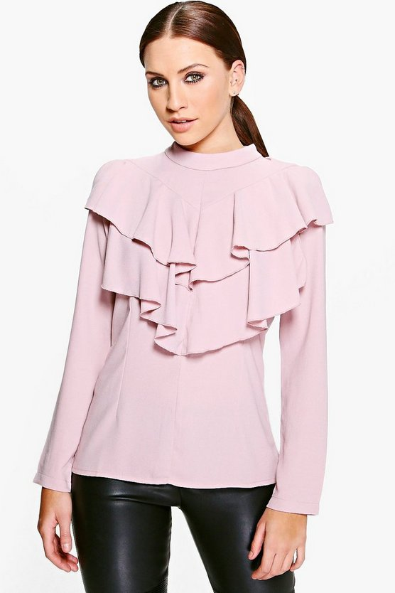 Faith Ruffle High Neck Blouse
