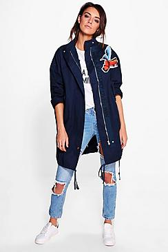 Isla Longline Canvas Embroidered Jacket