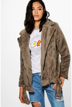 Freya Teddy Faux Fur Oversized Biker Jacket