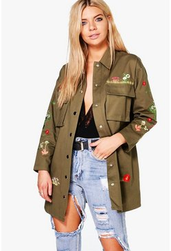 Ruby Embroidered Longline Canvas Jacket