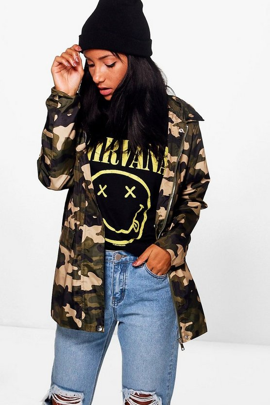 Amy Camo Hooded Rain Mac