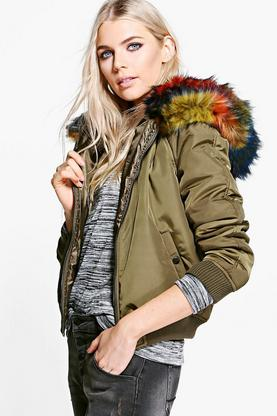 Brooke Multicoloured Faux Fur Hooded Bomber