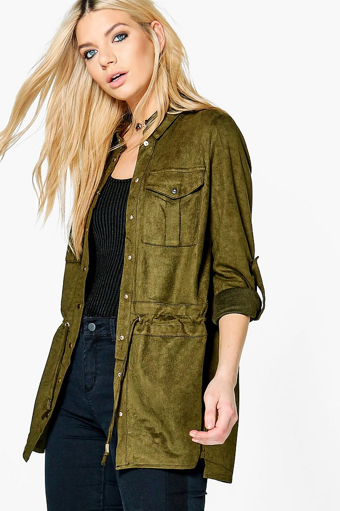 Phoebe Suedette Pocket Detail Shacket