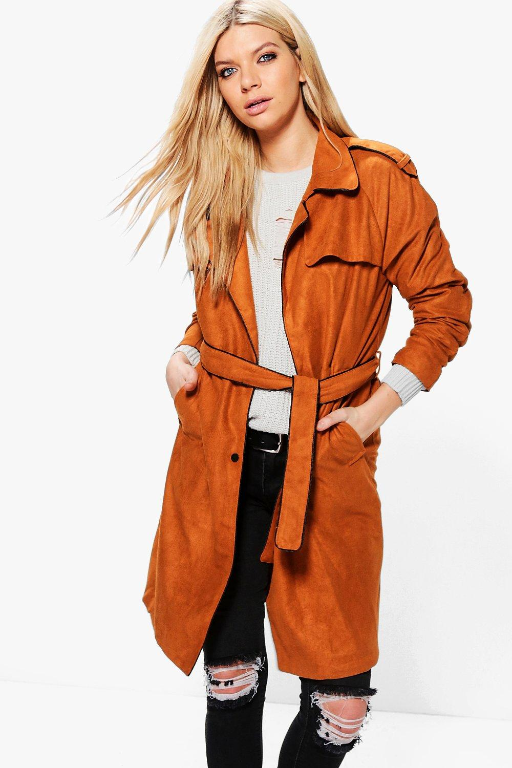 Amber Suedette Belted Trench
