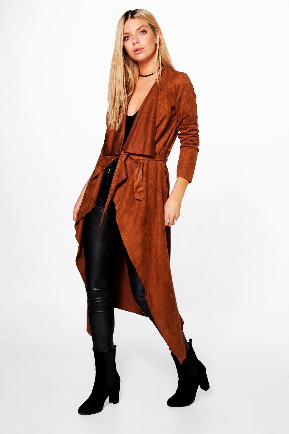 Rosie Suedette Waterfall Belted Jacket
