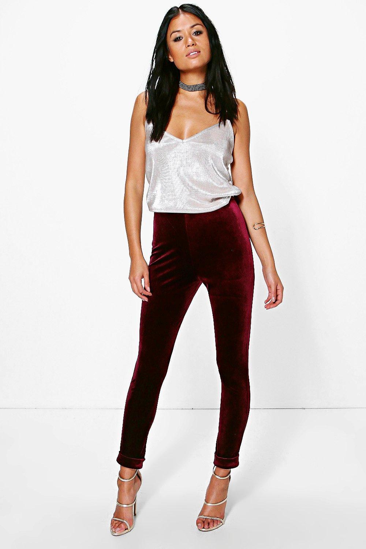 Velvet Turn Up Skinny Trousers  berry