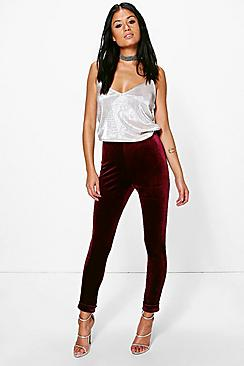 Kate Velvet Turn Up Skinny Trousers