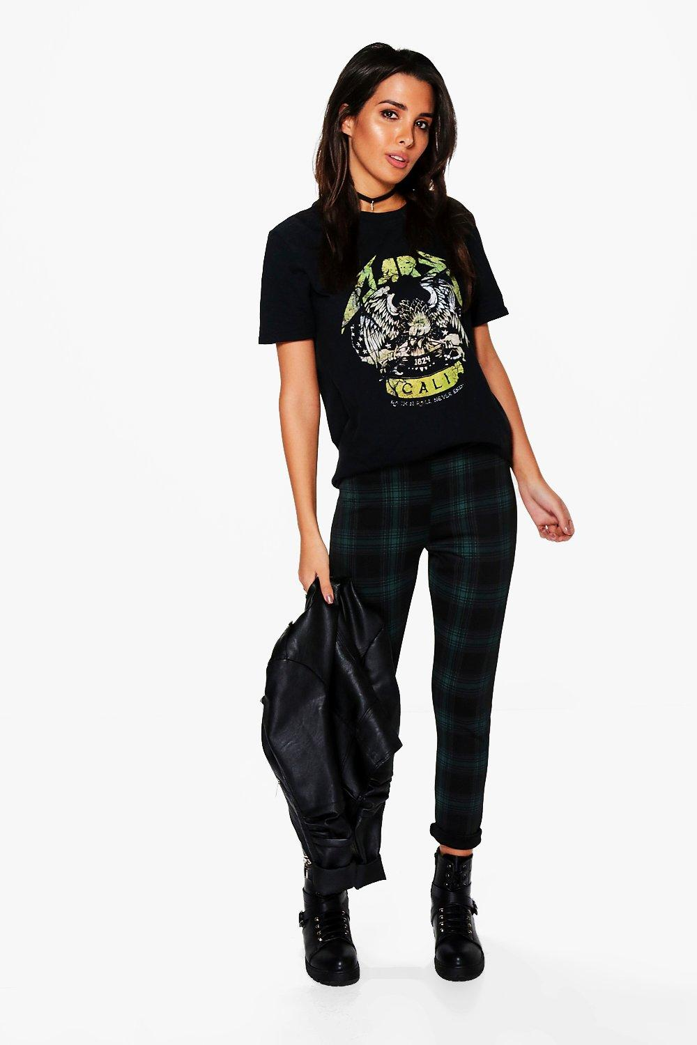 Lucia Tartan Check Skinny Stretch Trousers