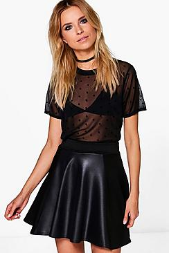 Harriet Leather Panel Skater Mini Skirt