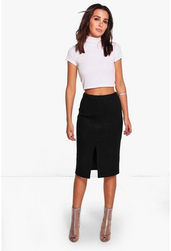 Amy Suedette Split Front Midi Skirt