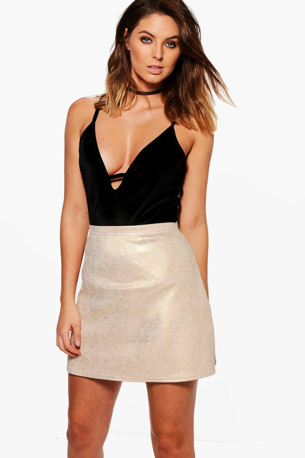 Nadia Metallic A Line Mini Skirt