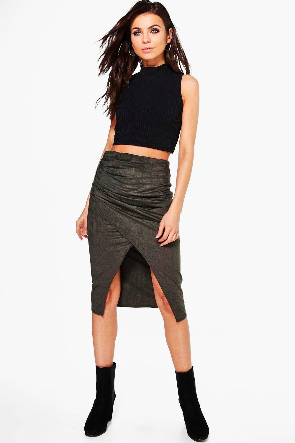 Lizzie Rouched Side Asymmetric Suedette Midi Skirt