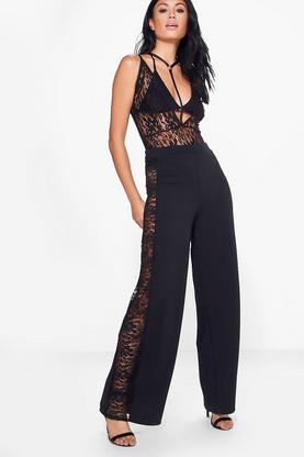 Layla Lace Panel Woven Wide Leg Trousers