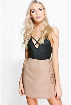 Tamsin Tie Waist Wrapover Suedette Mini Skirt