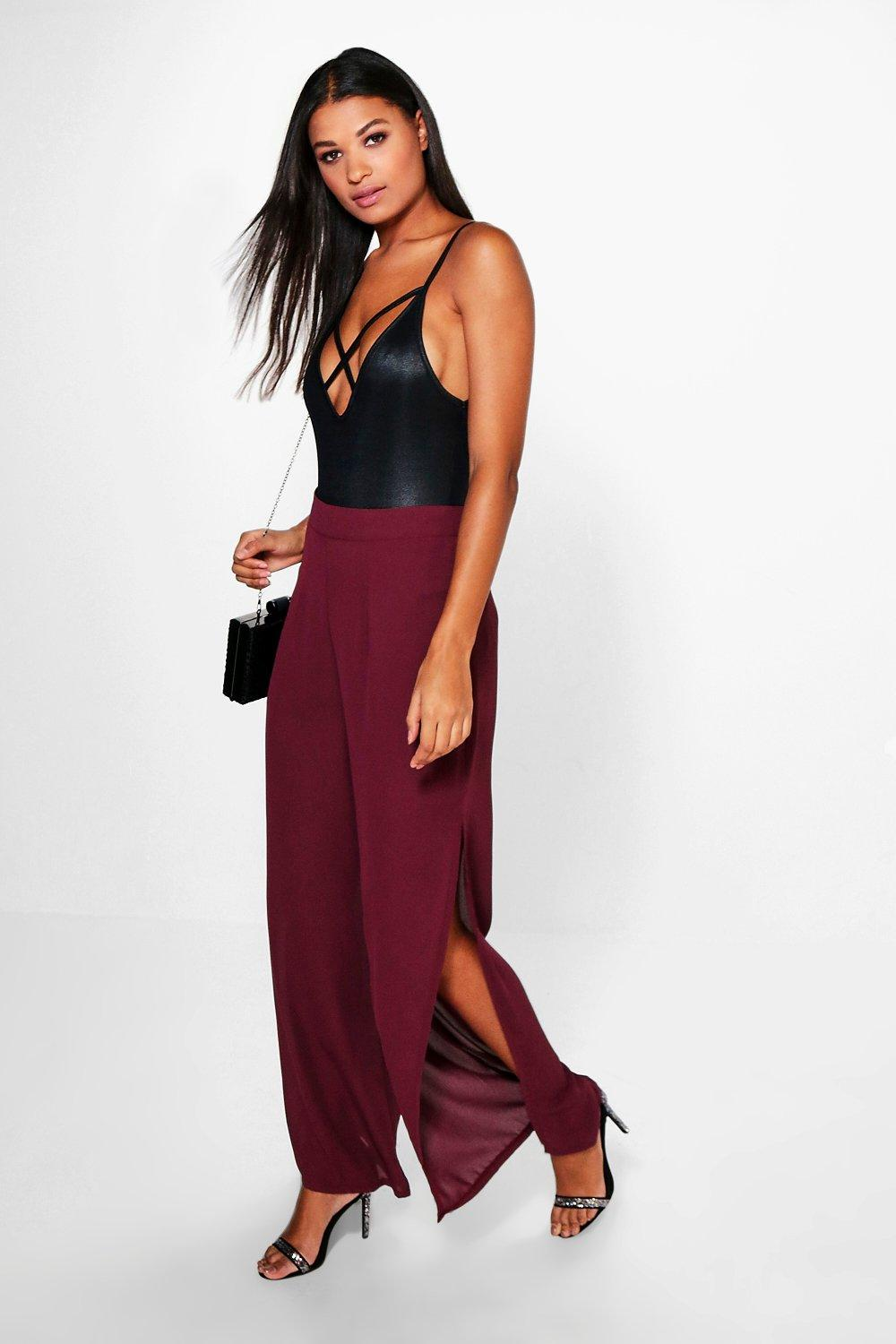 Libby Side Split Chiffon Wide Leg Trouser