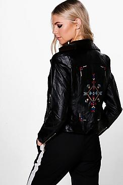 Charlotte Aztec Embroidered Biker Jacket