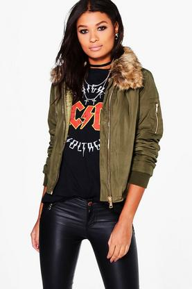 Emma Faux Fur Detachable Collar MA1 Bomber