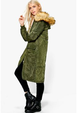 Molly Longline MA1 Bomber With Detachable Faux Fur Hood