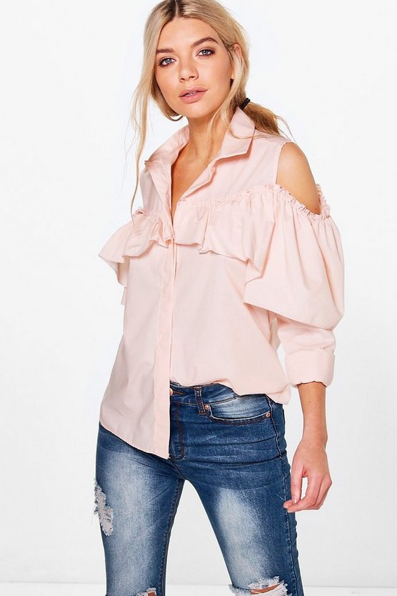Amy Long Sleeve Frill Detail Cold Shoulder Shirt