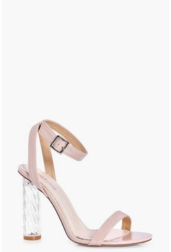 Laura Two Part Cylinder Unicorn Clear Heel