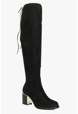 Eva Stretch Over The Knee Boot With Gold Trim