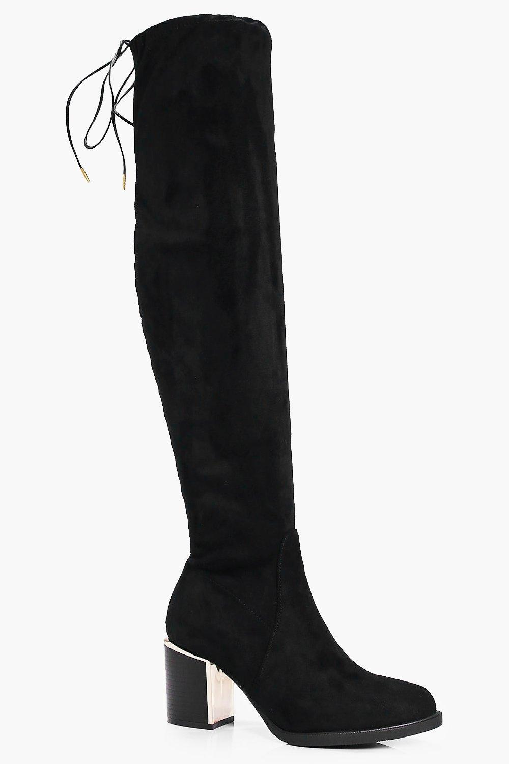 Zoe Stretch Over The Knee Boot With Gold Trim