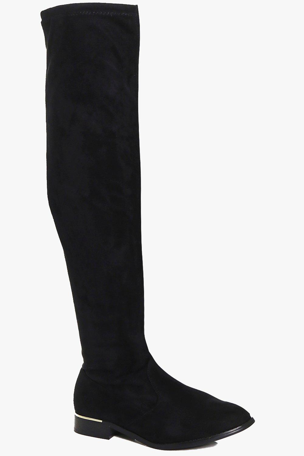 Lilly Stretch Over The Knee Flat Boot   Boohoo