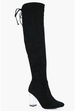 Ivy Clear Block Heel Over The Knee Boot