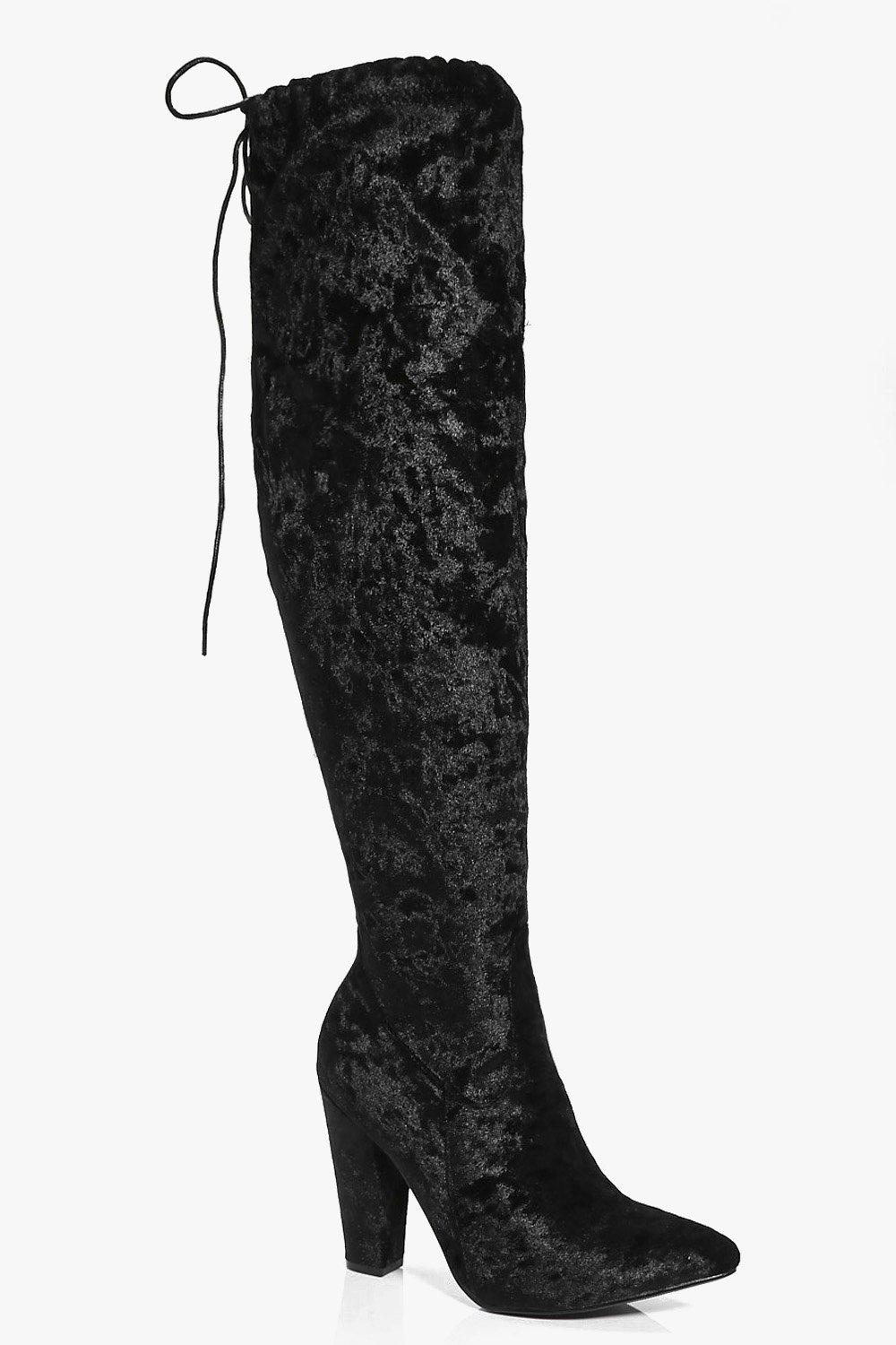 Kara Velvet Pointed Toe Over The Knee Boot