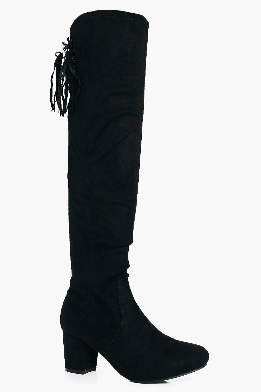 Nina Block Heel Tie Back Over The Knee Boot