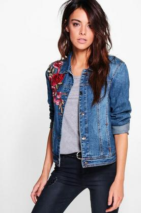 Ava Denim Floral Embroidered Jacket