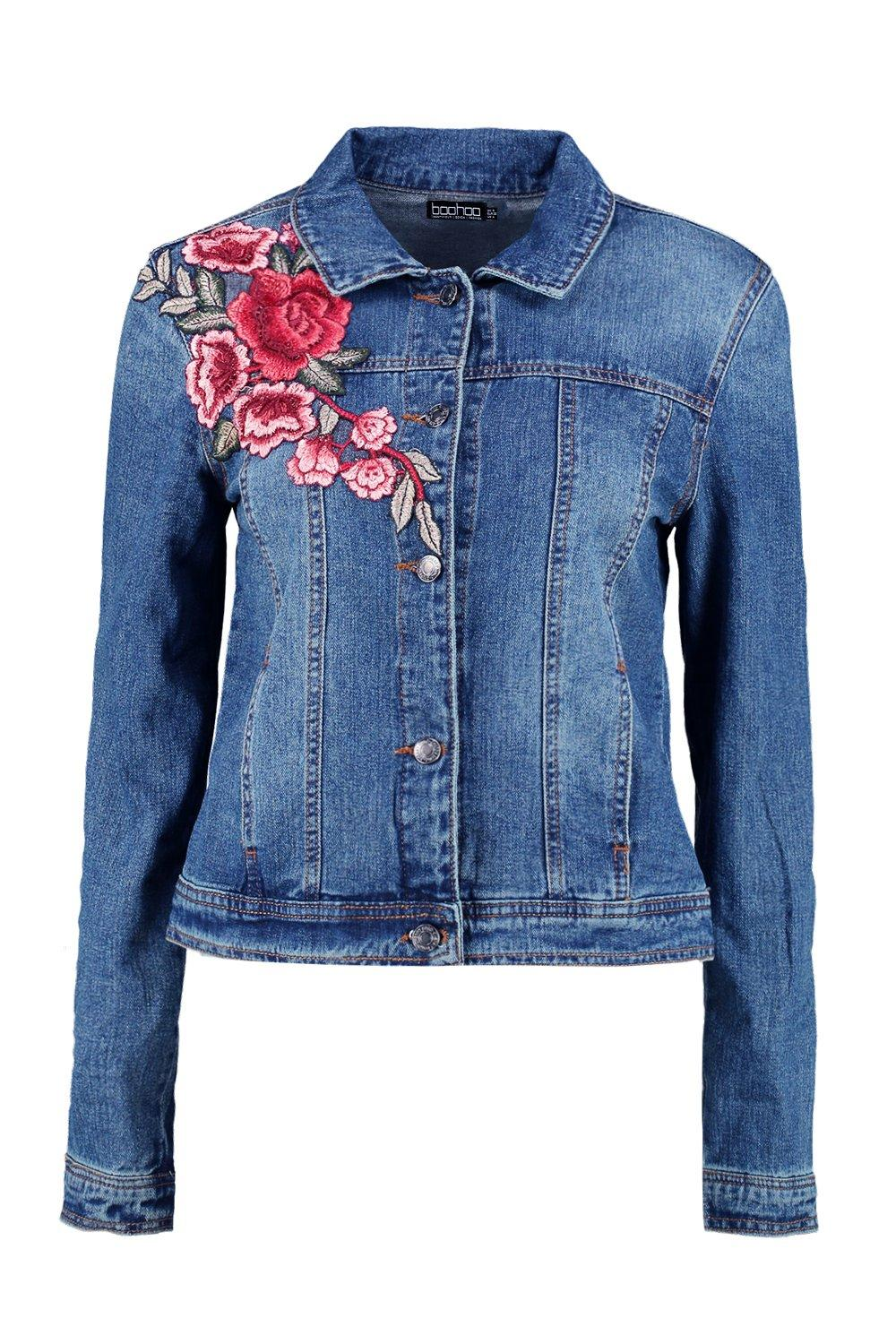 Boohoo womens ava denim floral embroidered jacket in blue