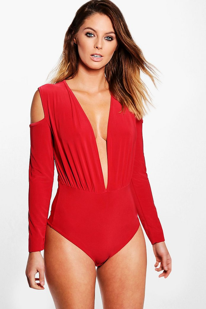 Stacey Slinky Long Sleeve Plunge Cold Shoulder Body