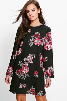Katy Floral Long Sleeved Shift Dress
