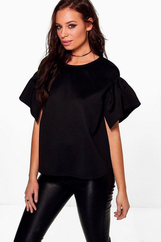 Georgina Pleated Short Sleeve Scuba Top