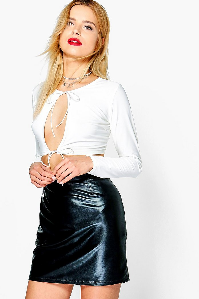 Rebecca Tie Front Plunge Long Sleeve Crop