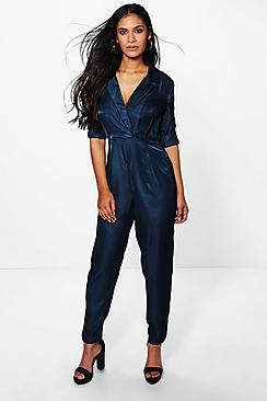 Evie Long Sleeve Wrap Over Collared Jumpsuit