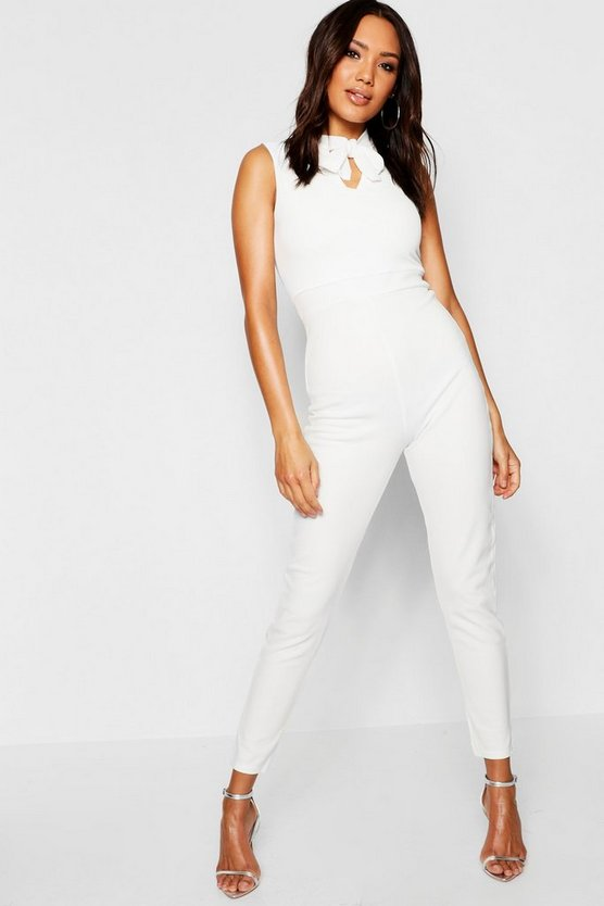 Tie Neck Tailored Jumpsuit