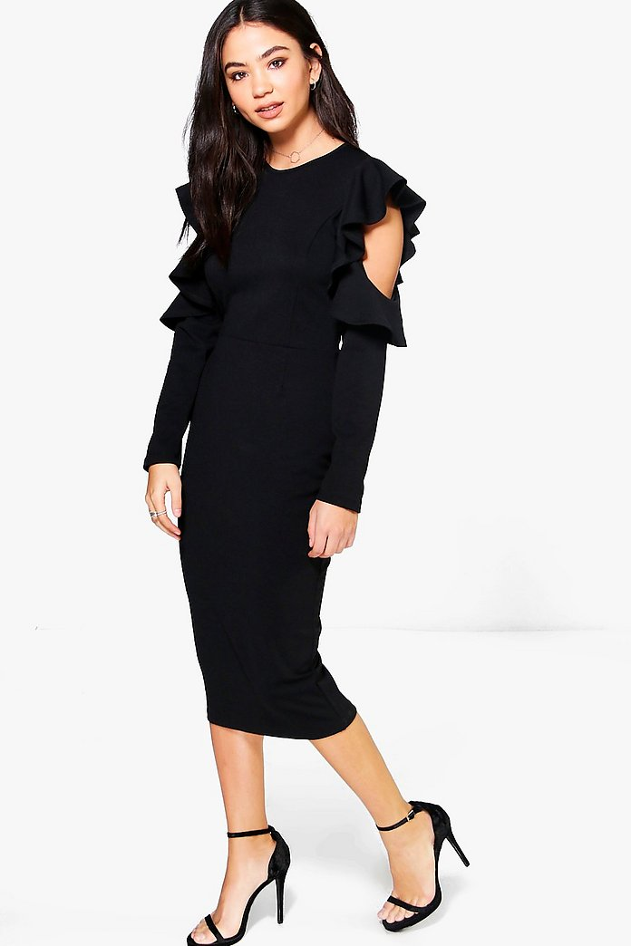 Erin Frill Sleeve Cold Shoulder Tailored Dress